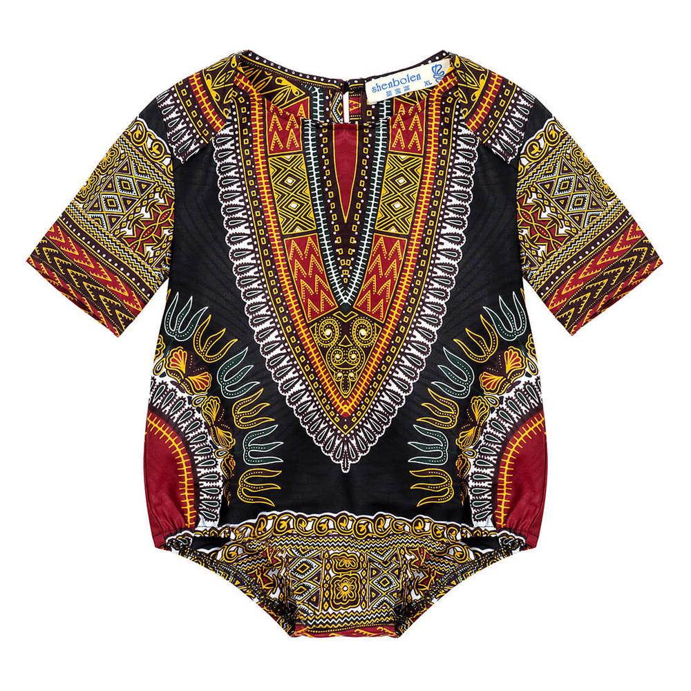 Personalized 100%Cotton Dashiki Kids Romper L075