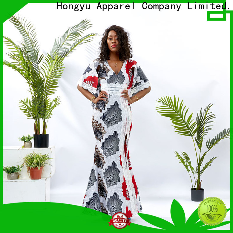 HongYu Apparel wax trendy dresses shoulder africa