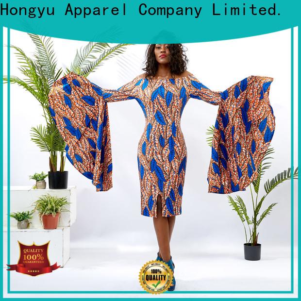 trim african print dresses for ladies floor reception