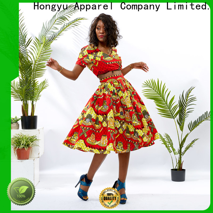 HongYu Apparel two piece skirt set print africa