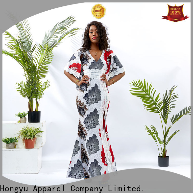 HongYu Apparel long wrap dress shoulder africa