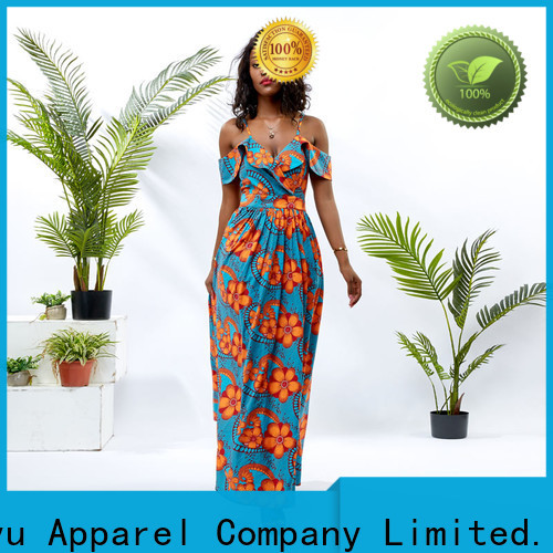 HongYu Apparel sequin african print dresses for ladies off reception