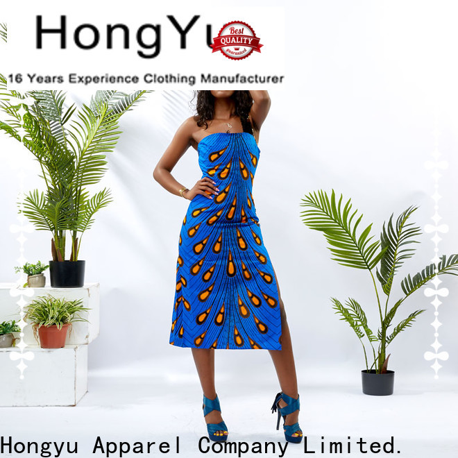 HongYu Apparel trim floral dresses for women shoulder mall