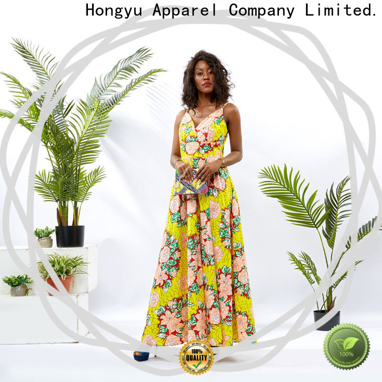 HongYu Apparel african print dress designs floor reception