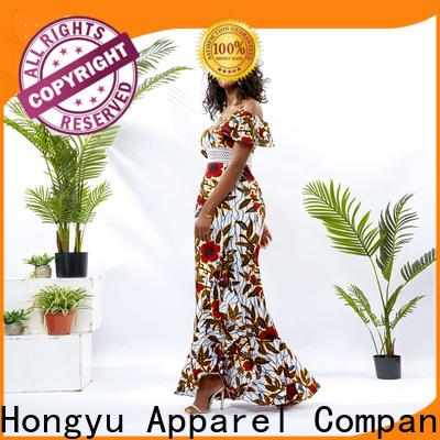 HongYu Apparel wax silk wrap dress off africa