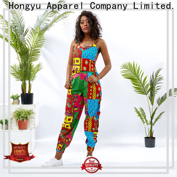 HongYu Apparel top african print two piece dresses girls africa