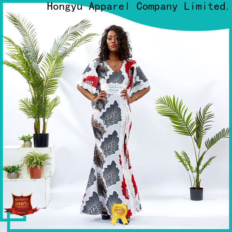 HongYu Apparel long wrap dress off reception