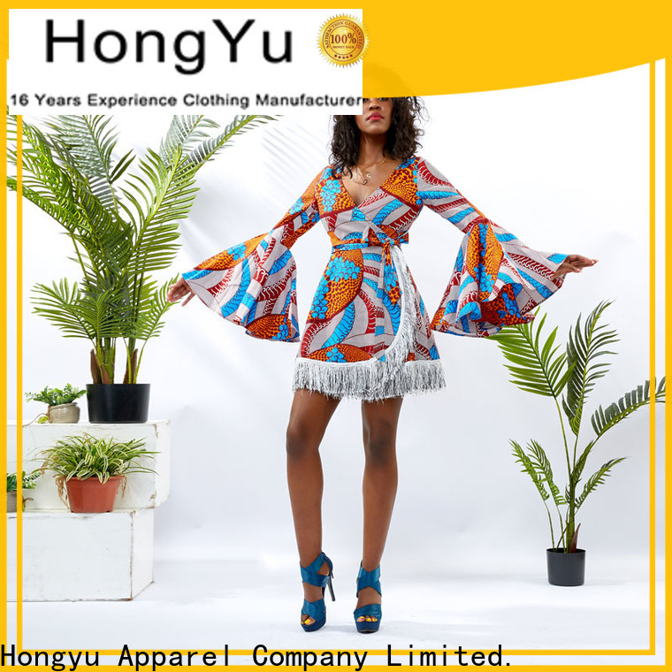 HongYu Apparel long wrap dress design reception