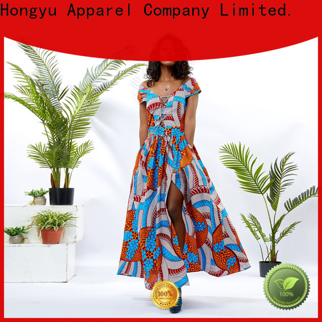 HongYu Apparel floral modern african print dresses service mall