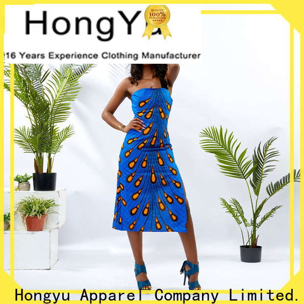 HongYu Apparel backless african print long dresses wholesale reception