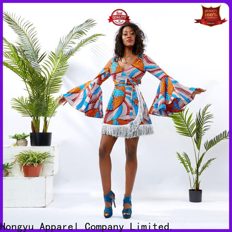 HongYu Apparel wrap african print short dresses wholesale africa