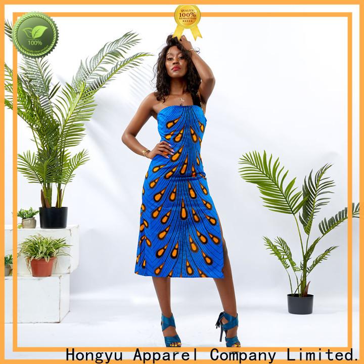 HongYu Apparel long sleeve off the shoulder dress design reception