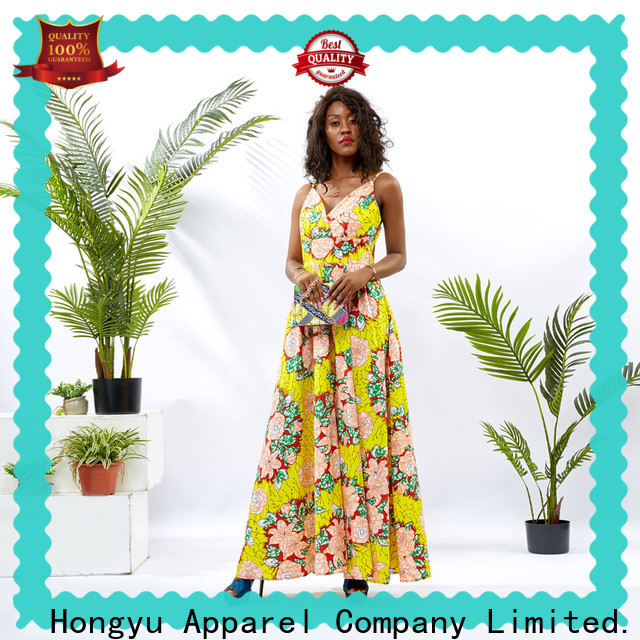 HongYu Apparel off the shoulder slit dress wholesale africa