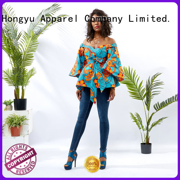 HongYu Apparel wrap womens printed shirt women africa