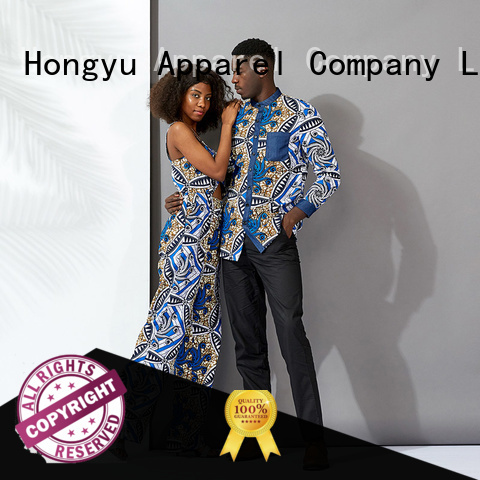 HongYu Apparel customized matching outfits for black couples design couples