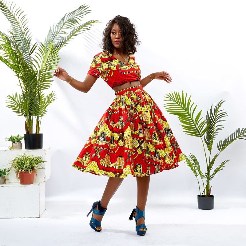 DH004 Women Two Pieces Design African Print Girls Crop Top with Midi Skirt