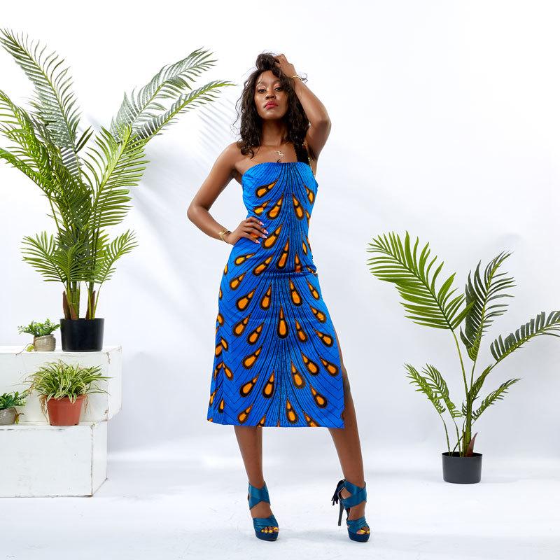 Wholesale Custom Dress Women African Print Slip Dress DH036