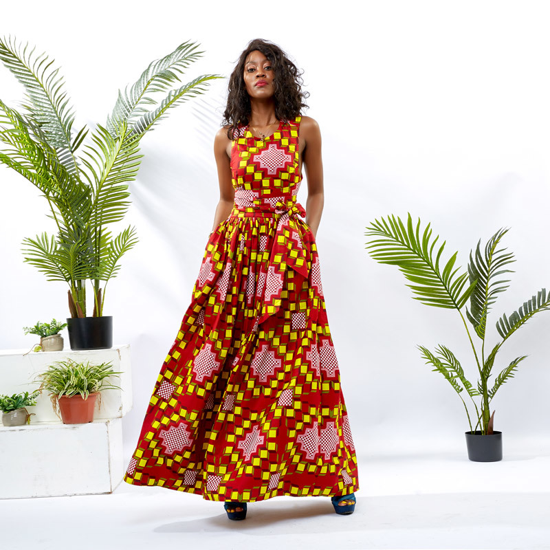 Custom Dress Supplier Women African Wax Floor Dress DH053