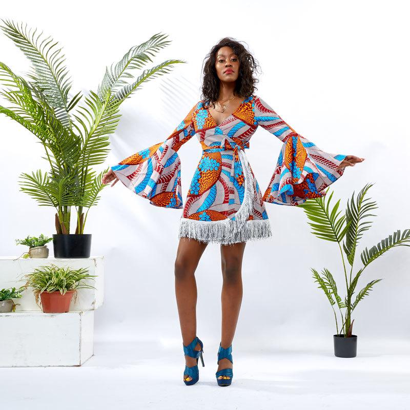 Wholesale Custom apparel Africa nPrint Women Wrap Dress DH076
