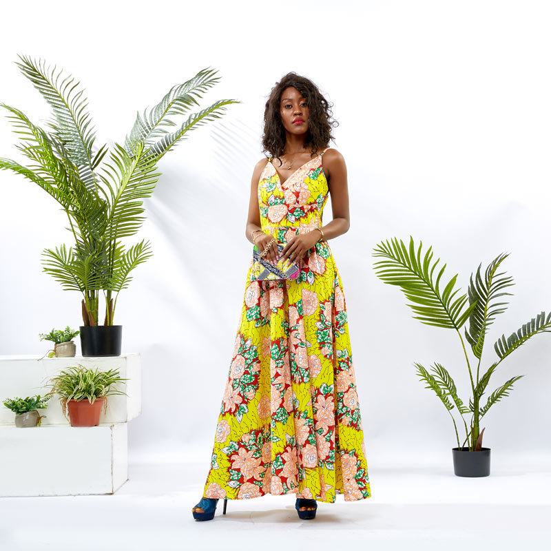 Custom Dress Supplier Women Ankara Maxi Dress DH077