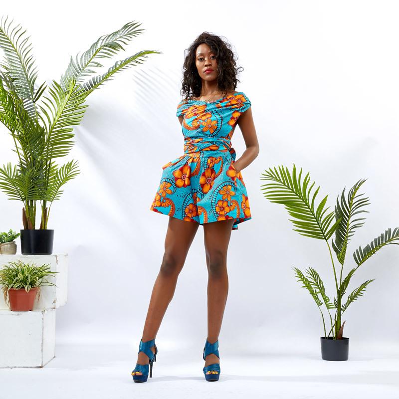 DH092 Women African Print Infinity Romper