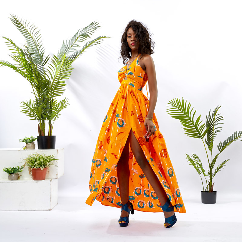 Wholesale Custom apparel African Print Cotton Maxi Slip Dress DH095