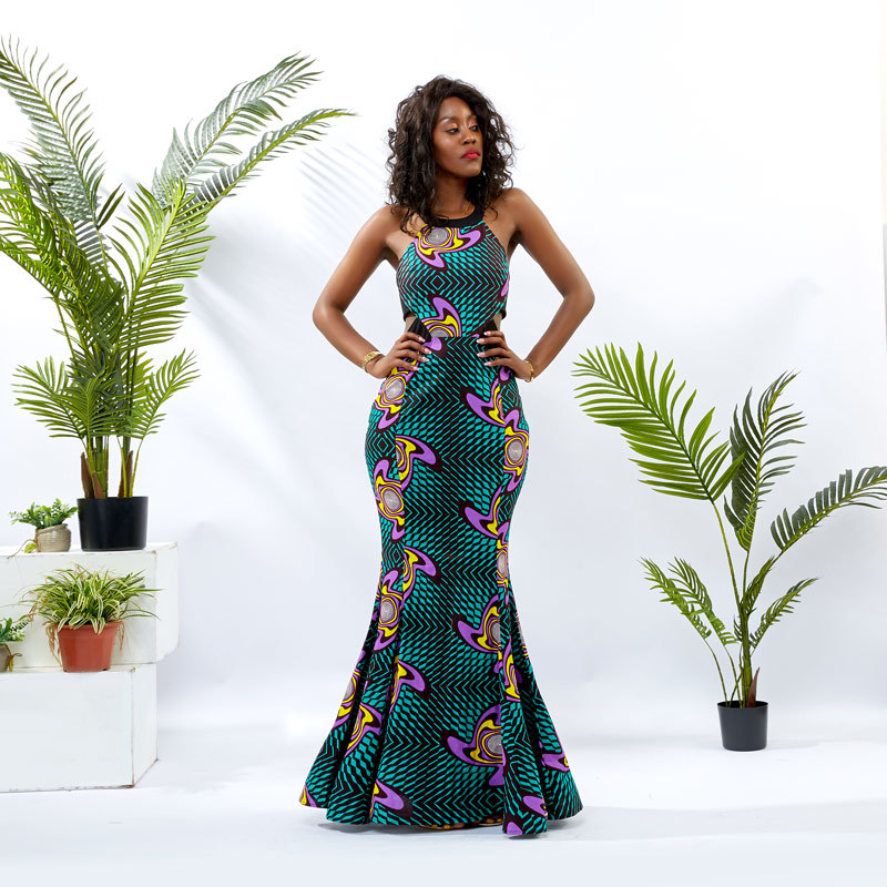 Custom apparel Supplier Women Ankara Backless Long Dress DH100