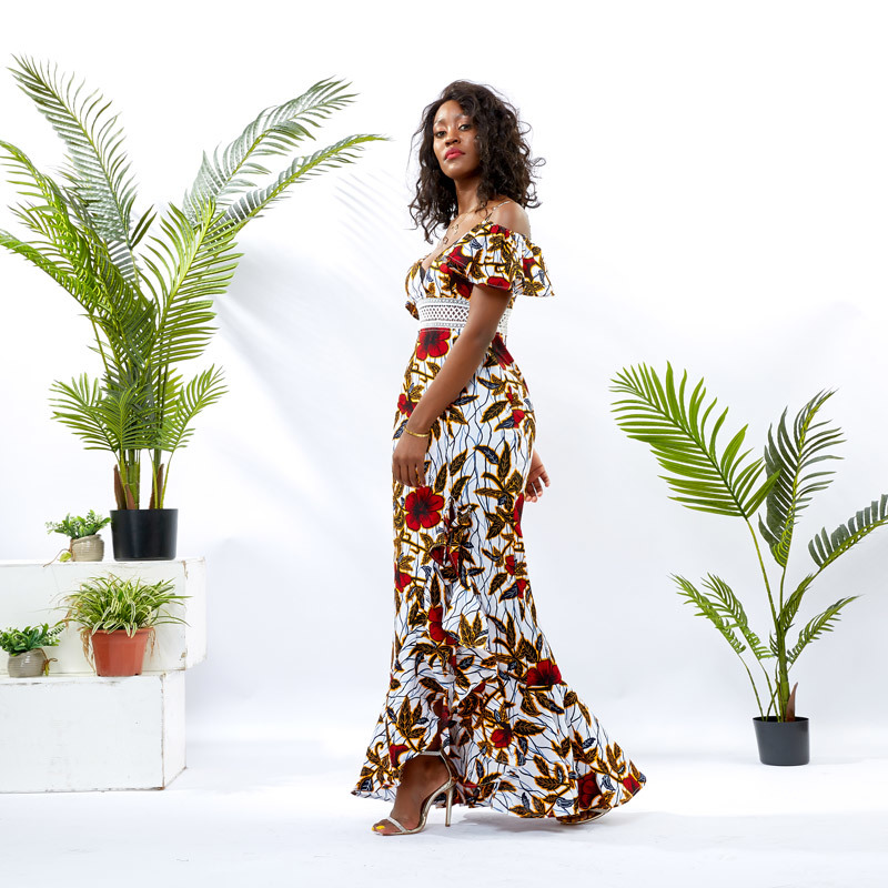 Custom apparel Supplier Women African Wax Long Dress DH105