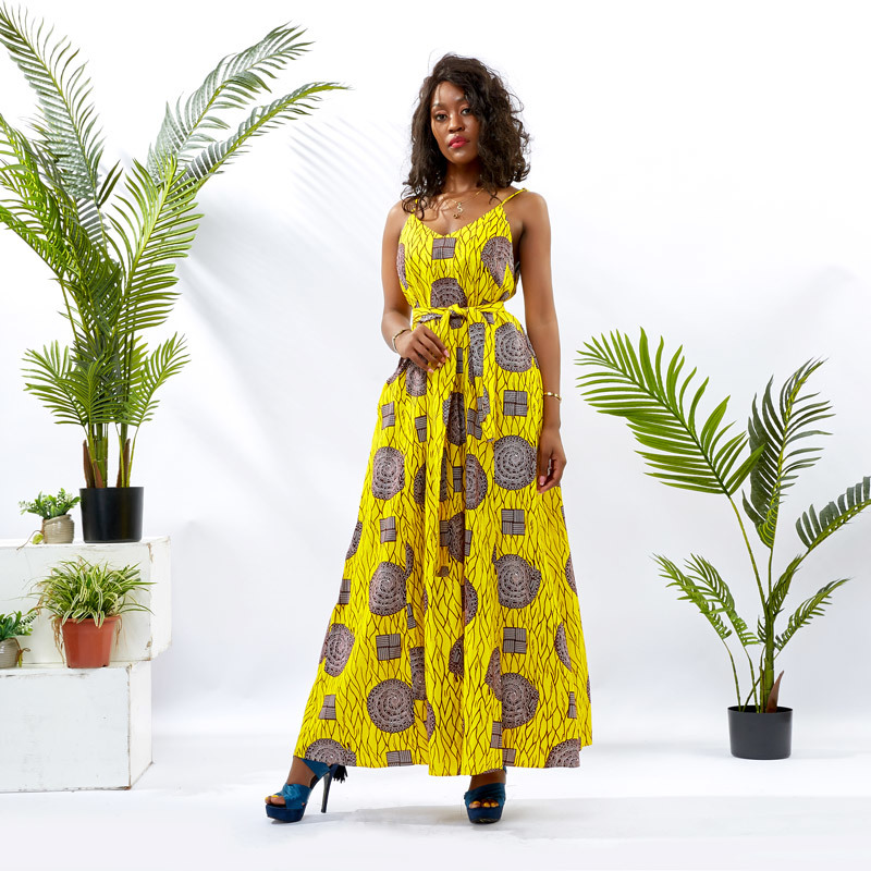 Custom apparel Supplier African Print Women Maxi Dress DH128