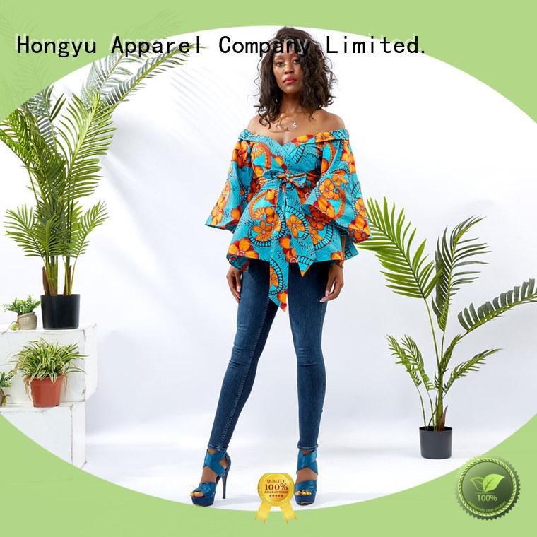 HongYu Apparel floral tops women africa