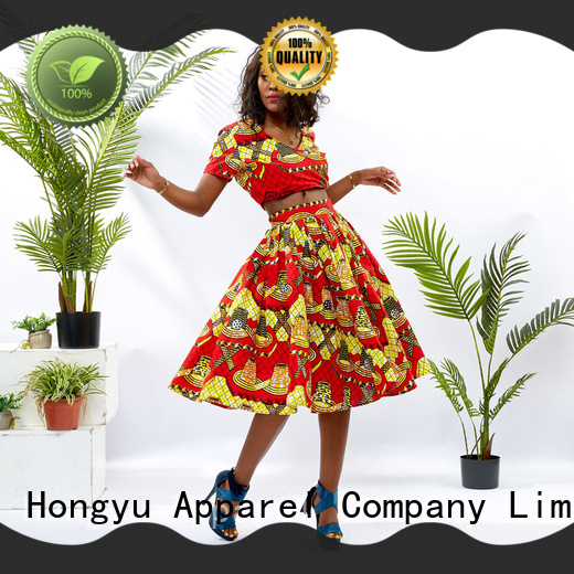 HongYu Apparel african print two piece dresses girls travel