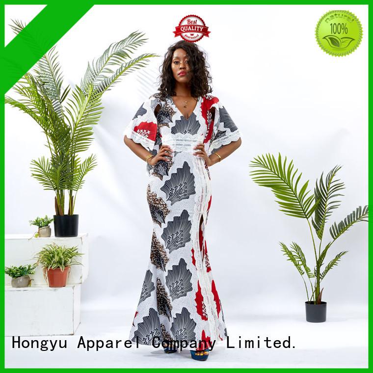 HongYu Apparel ankara silk wrap dress floor mall