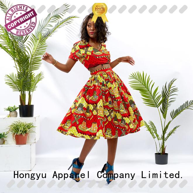 HongYu Apparel customized two piece short set print women