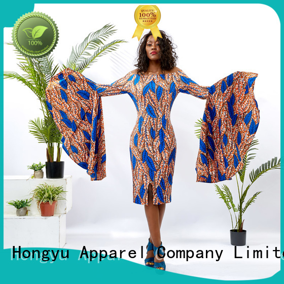 HongYu Apparel print printed dress shoulder africa