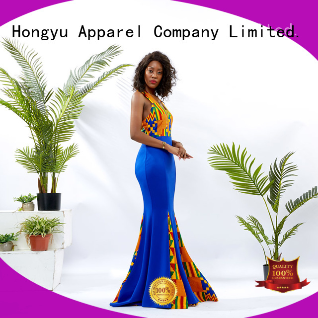 HongYu Apparel design african print dresses for ladies floor mall