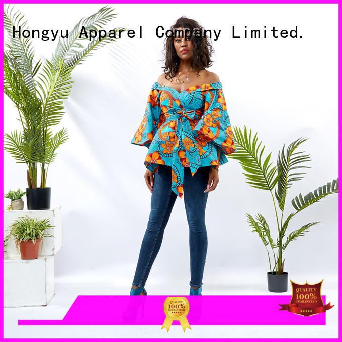 HongYu Apparel tunic custom womens shirts shoulder mall