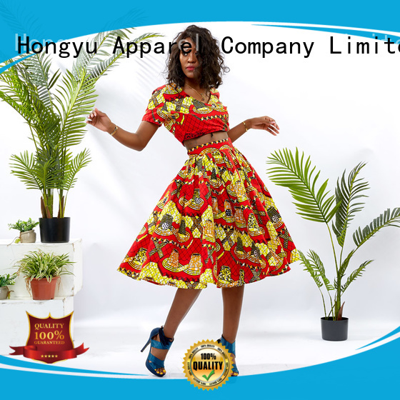 HongYu Apparel african print two piece dresses print travel