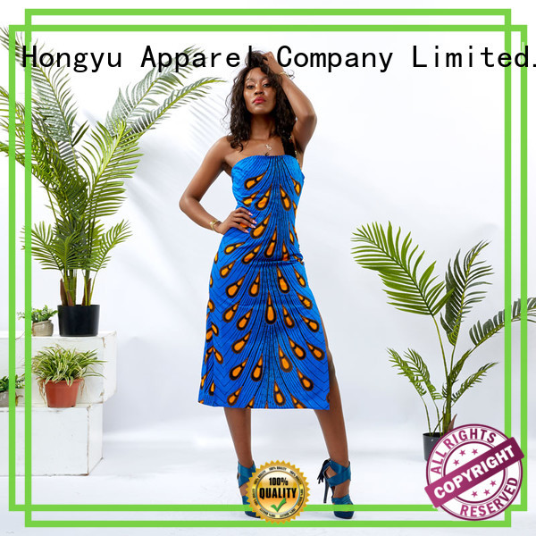 HongYu Apparel midi african print dress designs shoulder africa