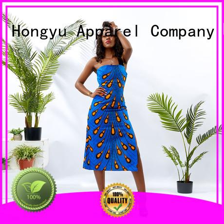 HongYu Apparel modern african print dresses floor africa