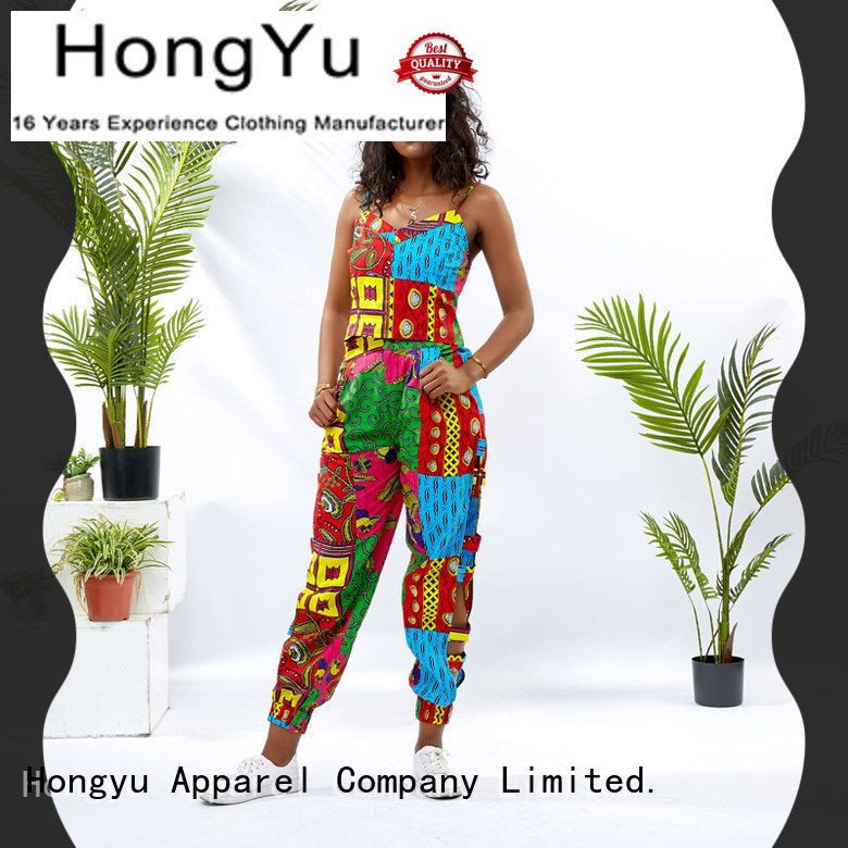 HongYu Apparel african print two piece dresses girls women