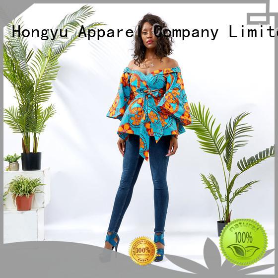 HongYu Apparel tunic tops for women shoulder reception