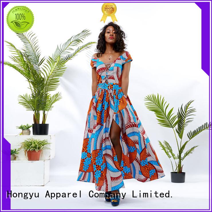 HongYu Apparel pieces floral dresses for women shoulder africa