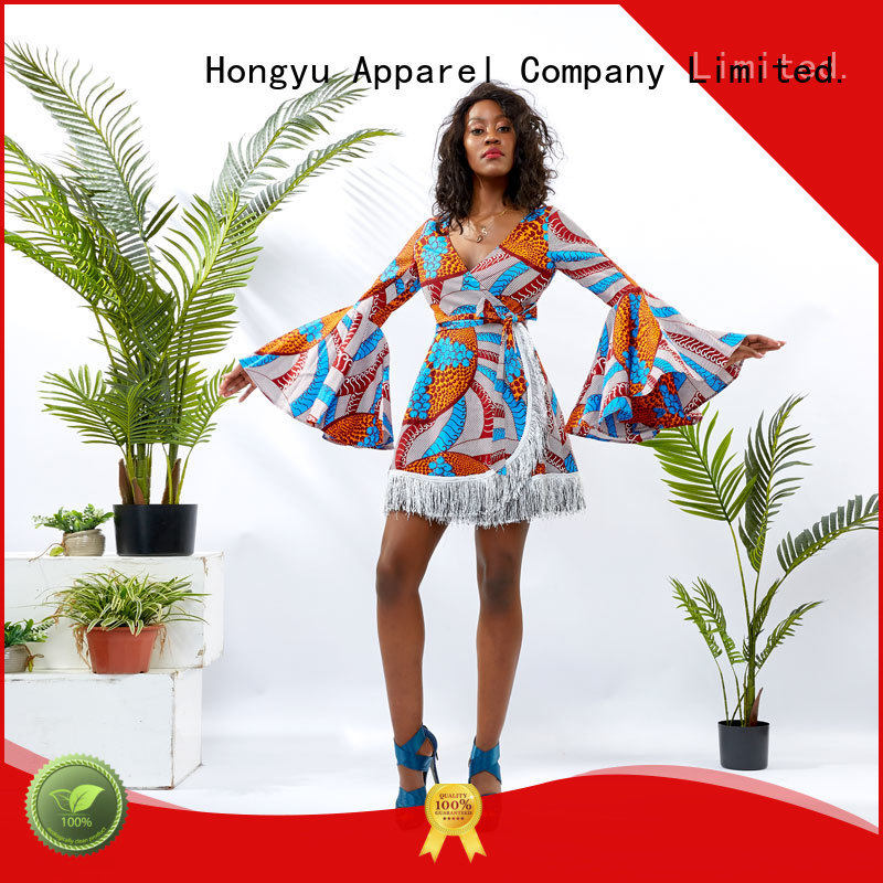 HongYu Apparel summer wrap dress off reception